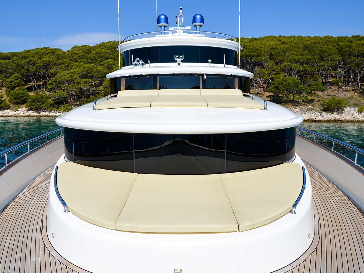 Johnson 87 Luxury yacht sunbath
