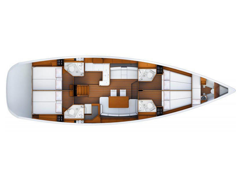 Jeanneau 53 (2013) equipped with roll mainsail, bow thruster, generator, A/C (saloon), TV/DVD