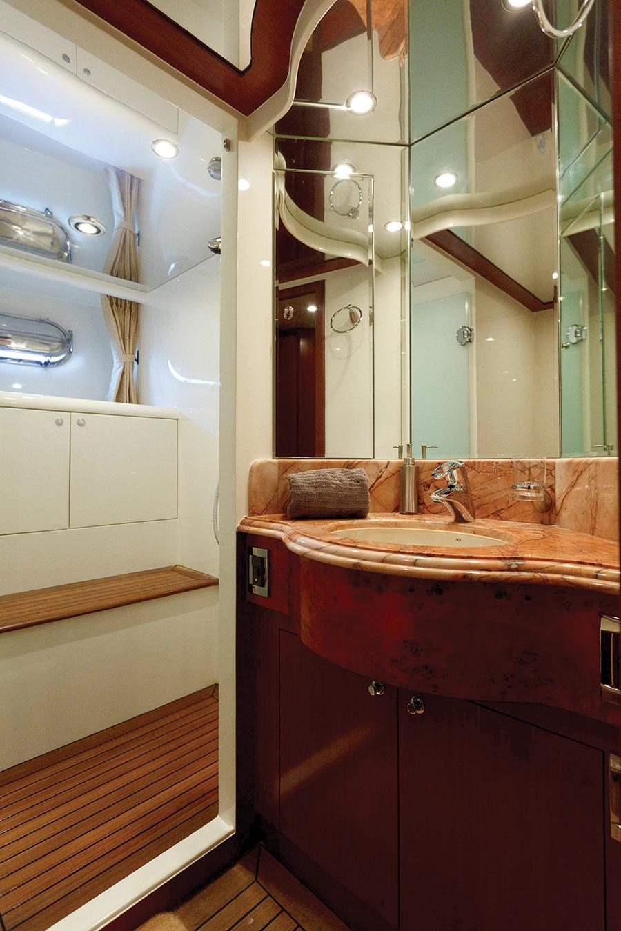 Johnson 87 Luxury yacht bathroom