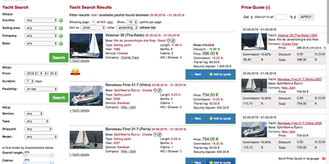 Yacht Charter Online Booking System and Management Software